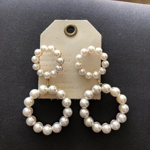 NWT Anthropologie pearl hoop earrings
